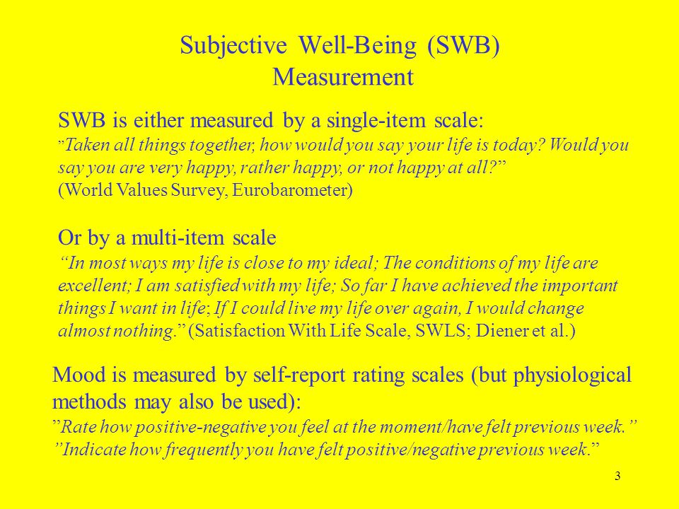 Subjective Well-Being (SWB) Measurement