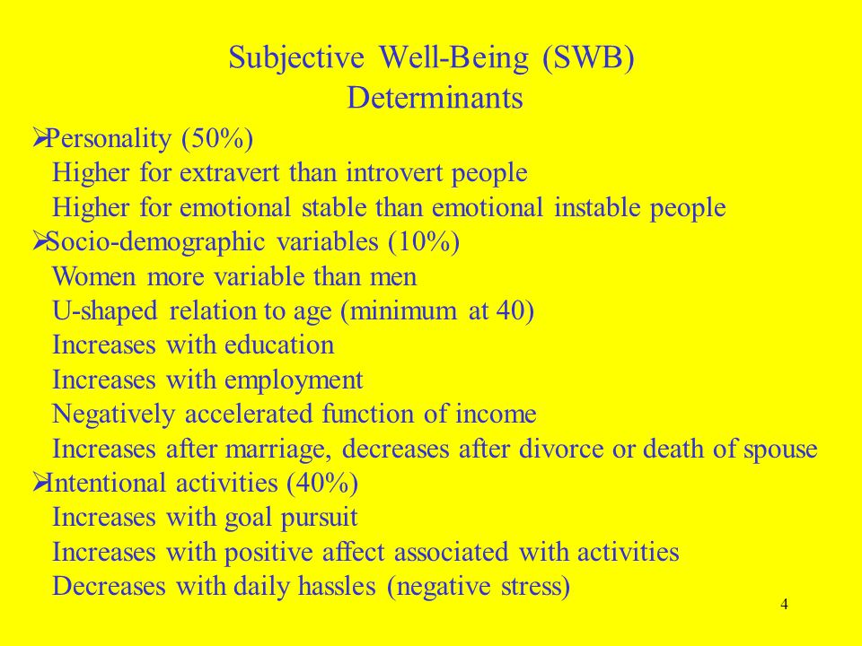 Subjective Well-Being (SWB) Determinants
