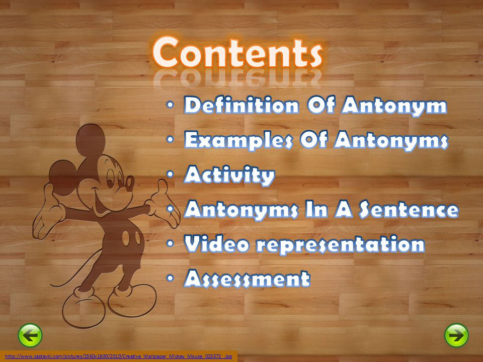 Contents Definition Of Antonym Examples Of Antonyms Activity