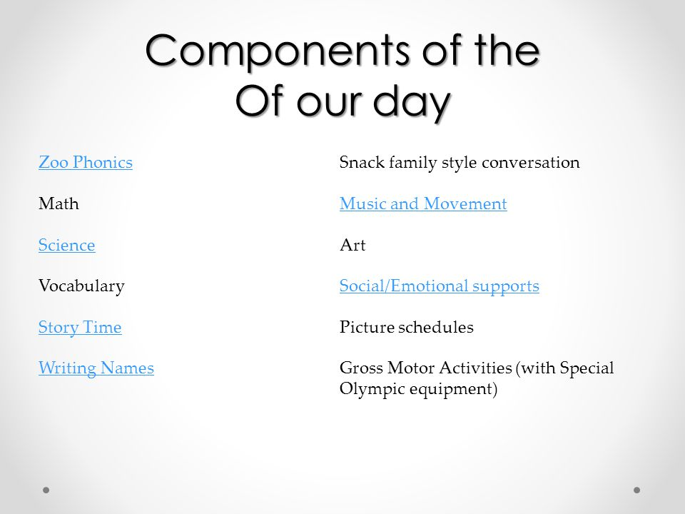 Components of the Of our day Zoo Phonics