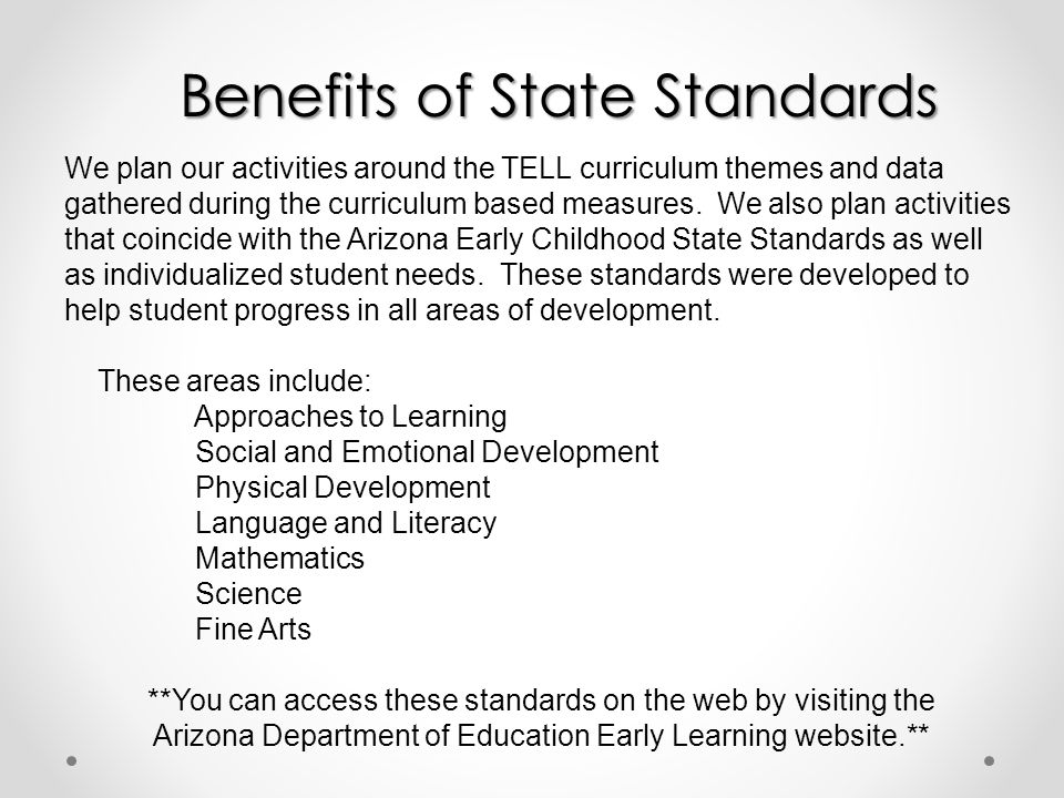Benefits of State Standards