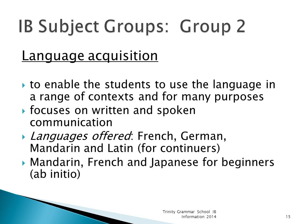 IB Subject Groups: Group 2