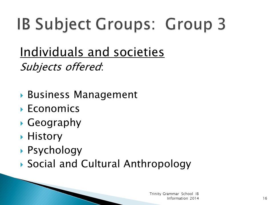 IB Subject Groups: Group 3