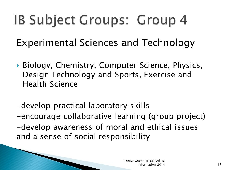 IB Subject Groups: Group 4