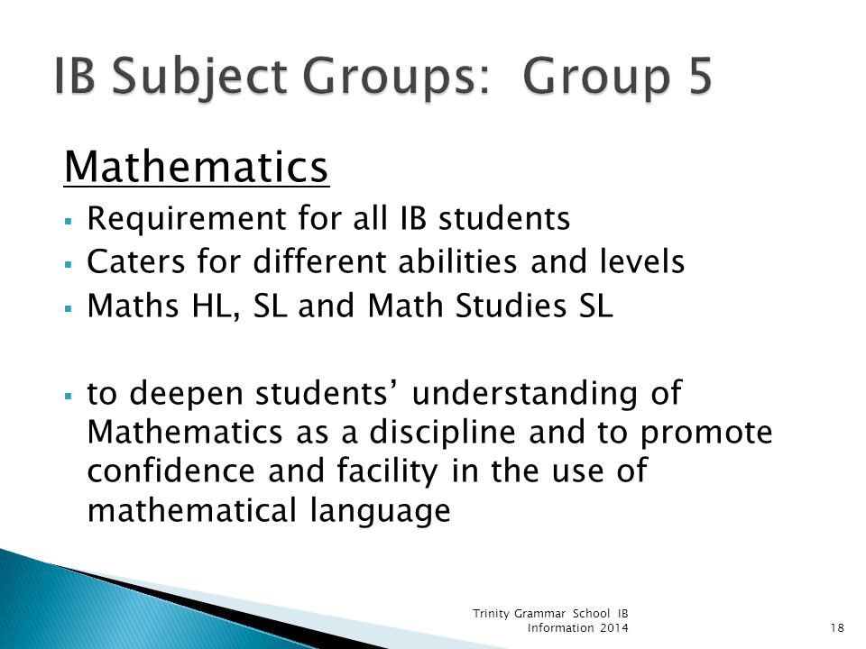 IB Subject Groups: Group 5