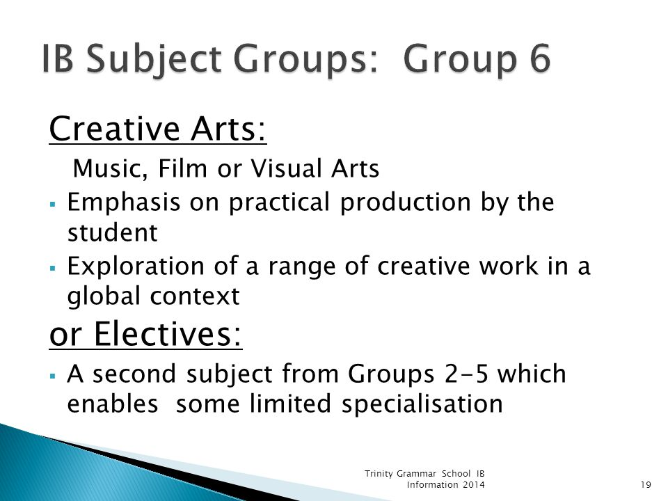 IB Subject Groups: Group 6