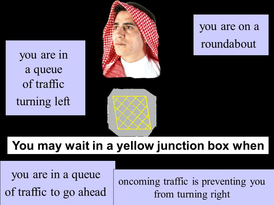 You may wait in a yellow junction box when