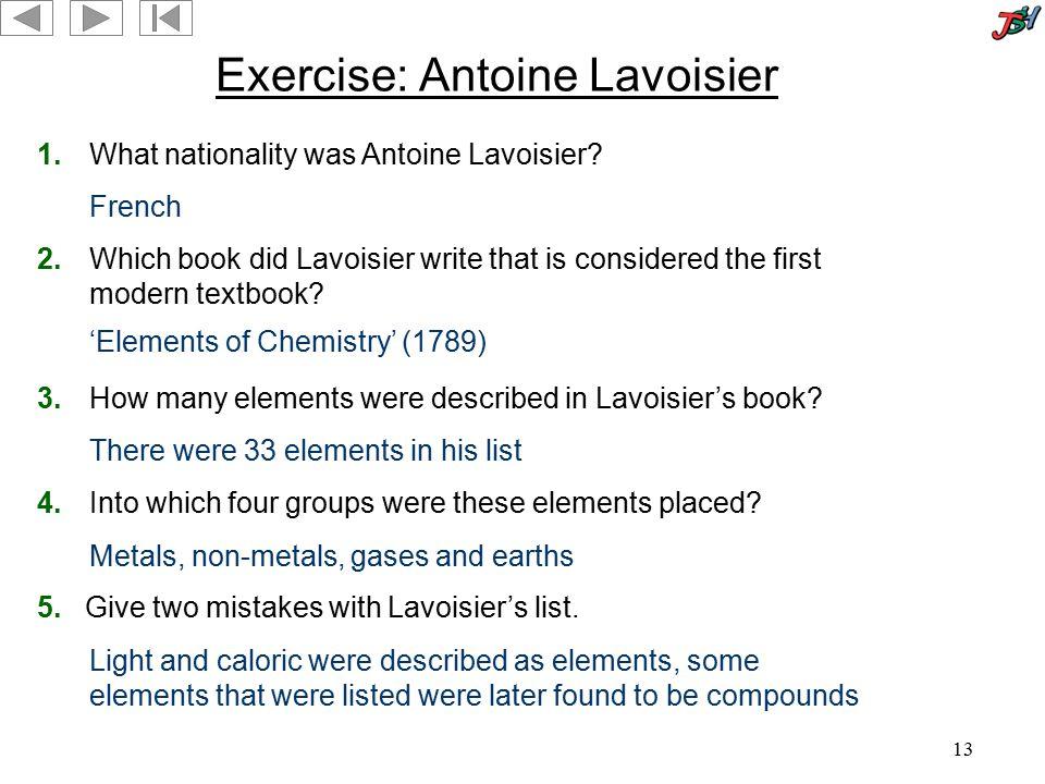 Exercise: Antoine Lavoisier