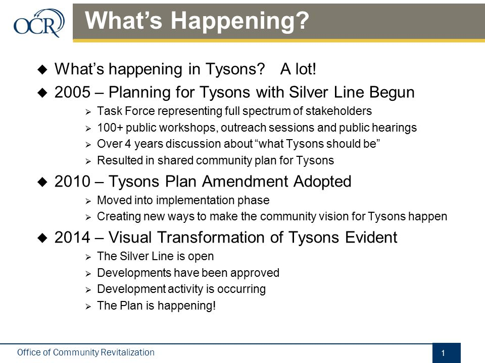 Vision for Tysons A Livable Urban Center