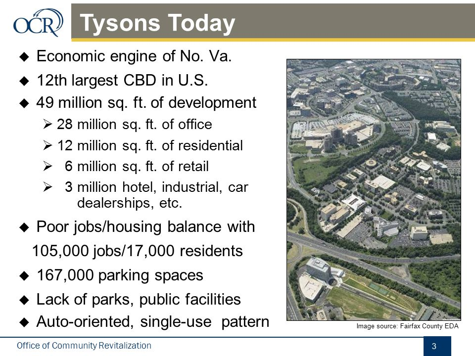 Tysons Today New development primarily a mix of residential and office