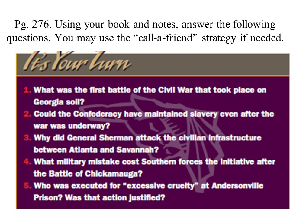 Pg. 276. Using your book and notes, answer the following questions