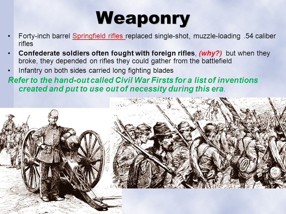 Weaponry Forty-inch barrel Springfield rifles replaced single-shot, muzzle-loading .54 caliber rifles.