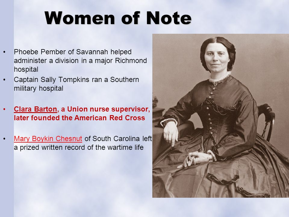 Women of Note Phoebe Pember of Savannah helped administer a division in a major Richmond hospital.