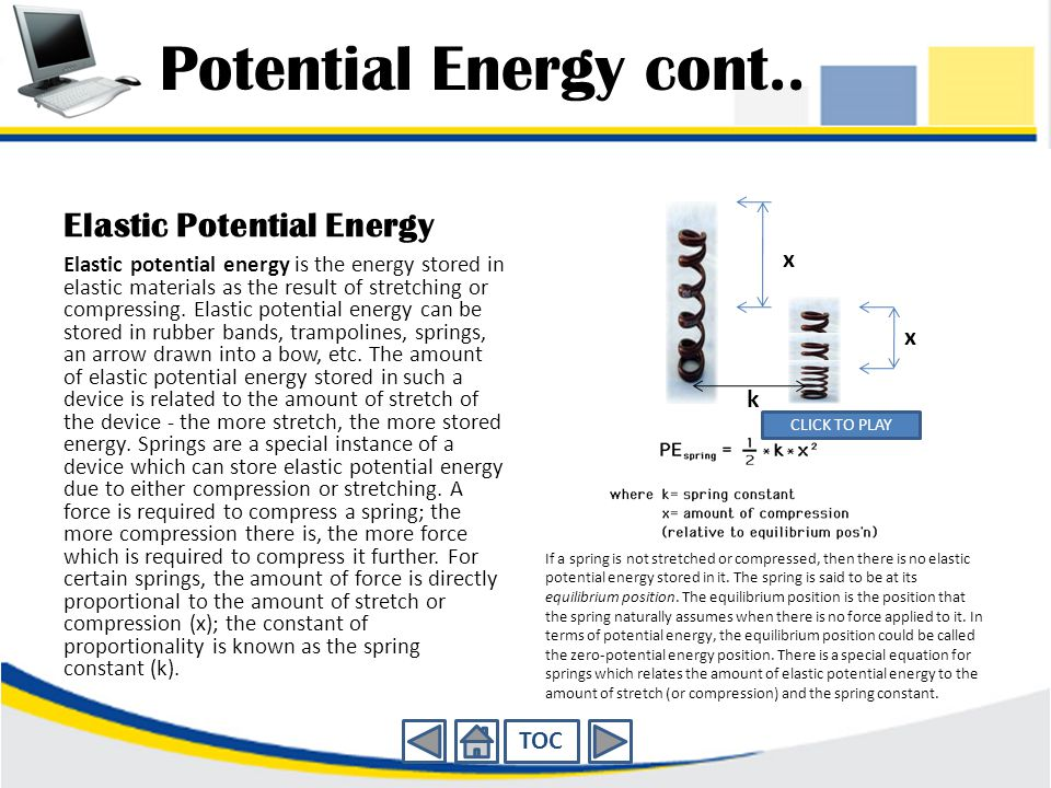 Potential Energy cont.. Elastic Potential Energy x k TOC