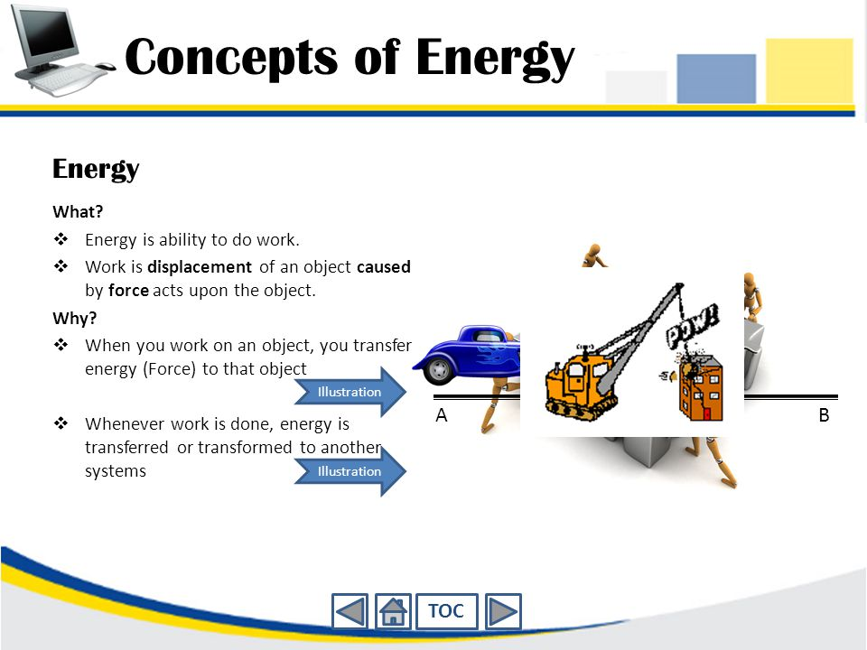 Concepts of Energy Energy A B TOC What Energy is ability to do work.