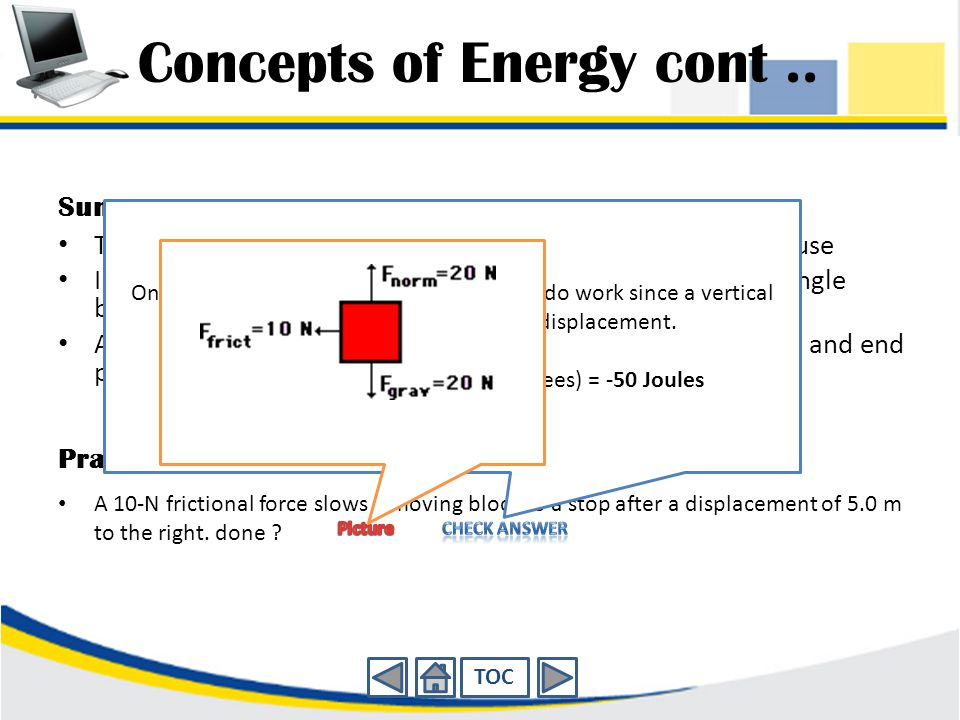 Concepts of Energy cont ..