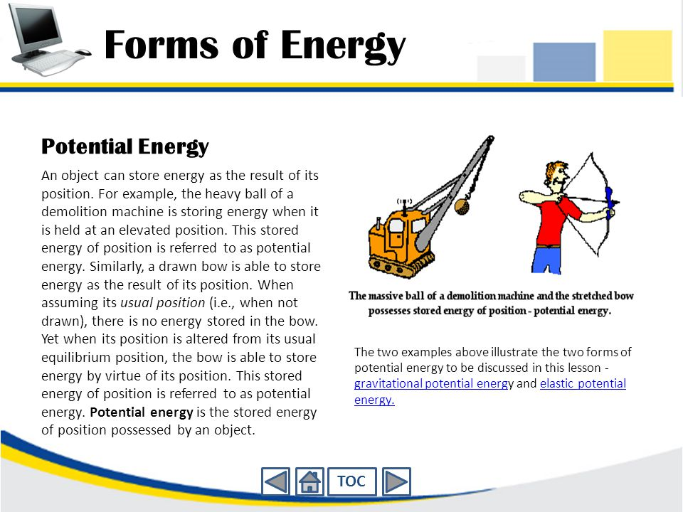 Forms of Energy Potential Energy TOC
