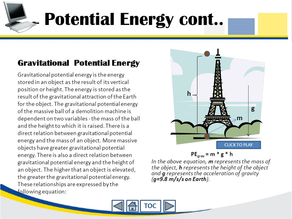 Potential Energy cont.. Gravitational Potential Energy h g m TOC