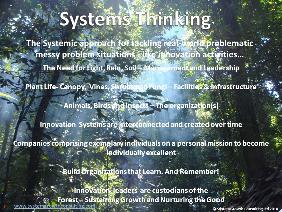 Systems Thinking The Systemic approach for tackling real-world problematic messy problem situations - like innovation activities…