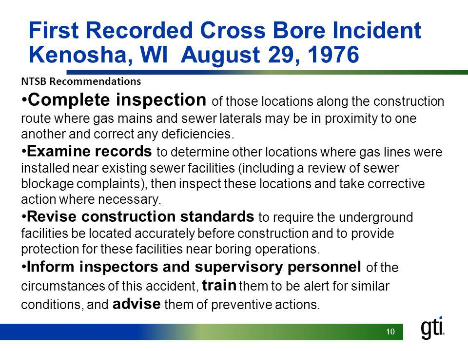 First Recorded Cross Bore Incident Kenosha, WI August 29, 1976