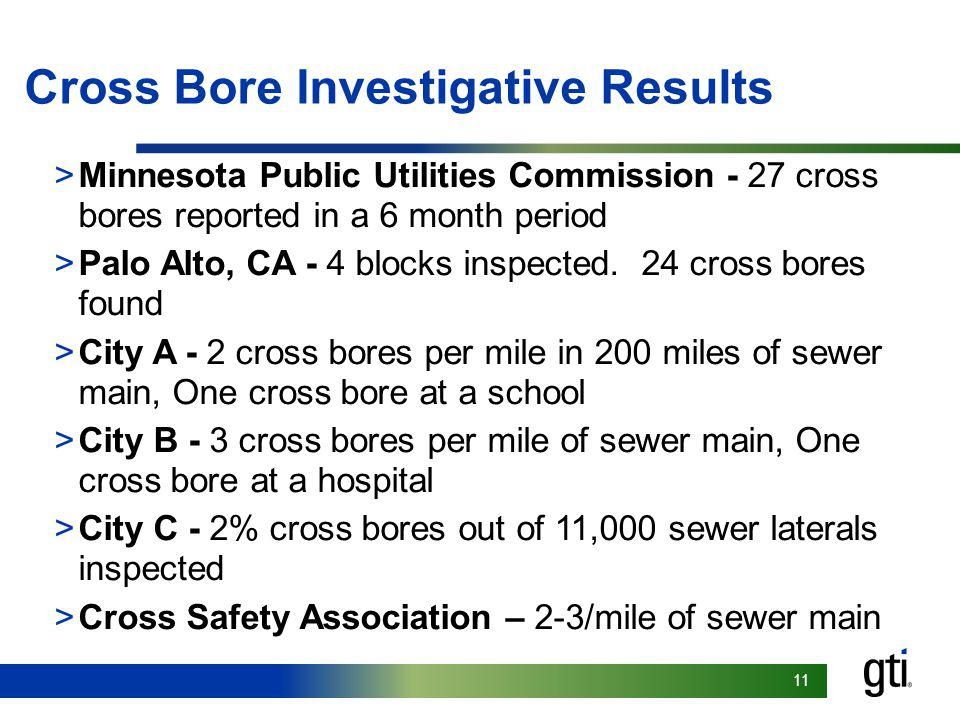 Cross Bore Investigative Results