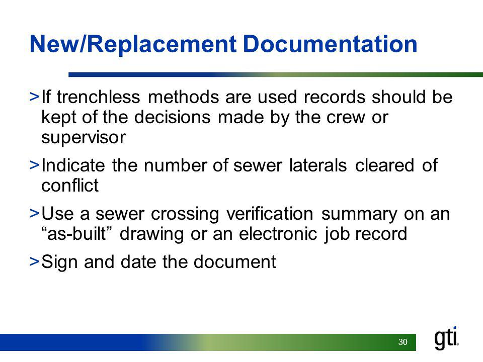New/Replacement Documentation