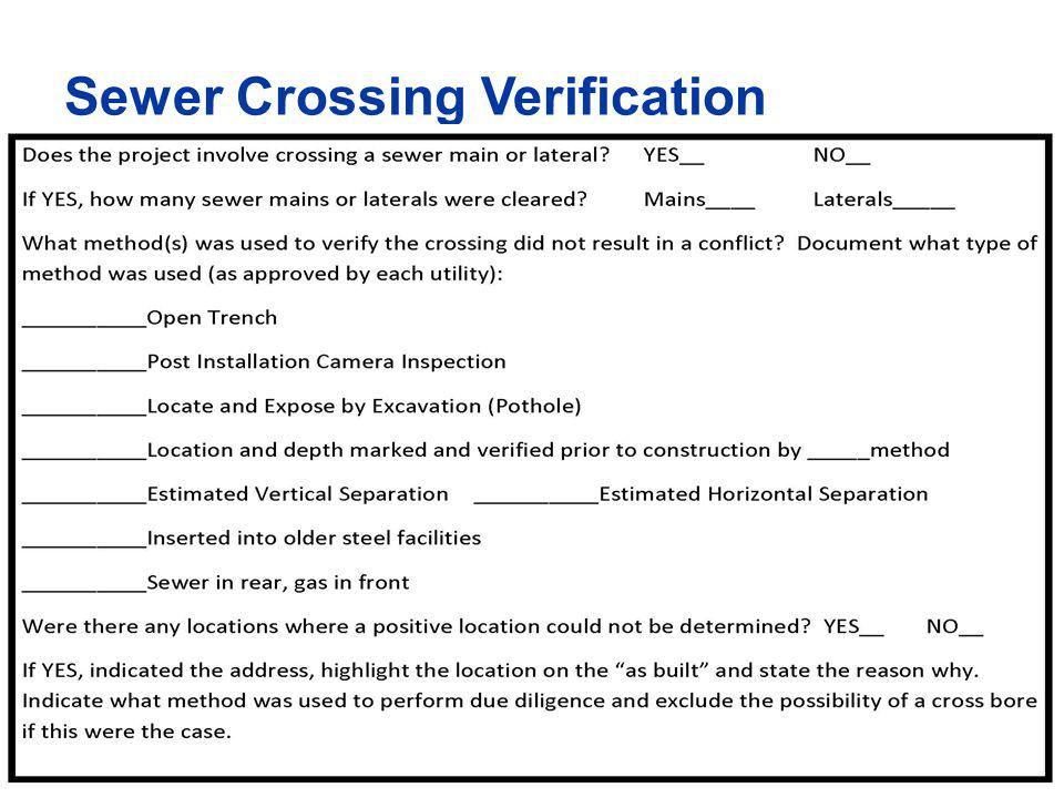 Sewer Crossing Verification