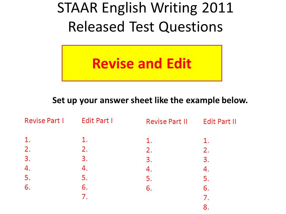 Set up your answer sheet like the example below.