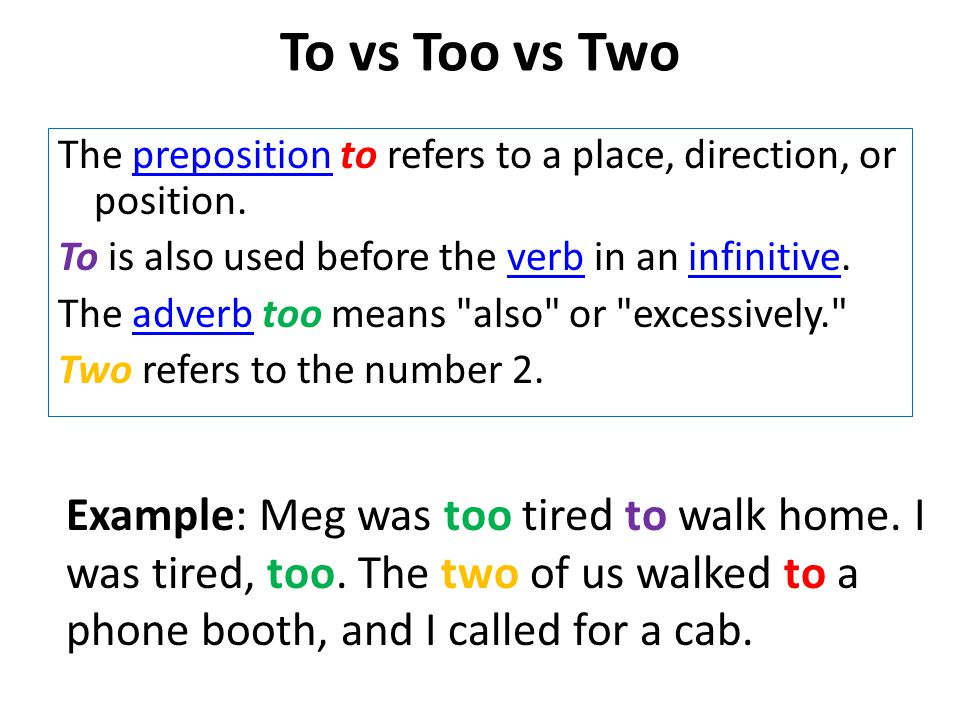 To vs Too vs Two