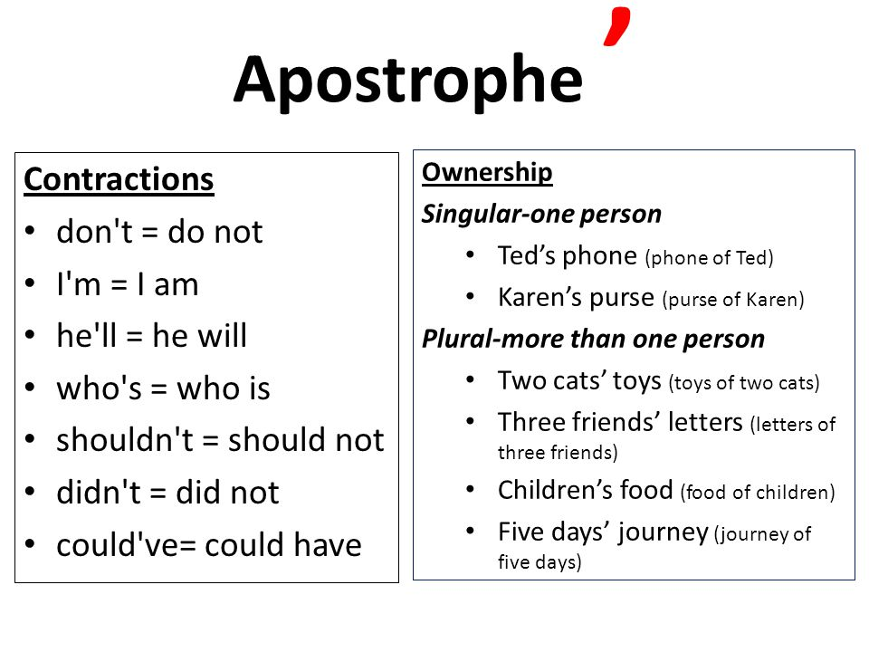Apostrophe ' Contractions don t = do not I m = I am he ll = he will
