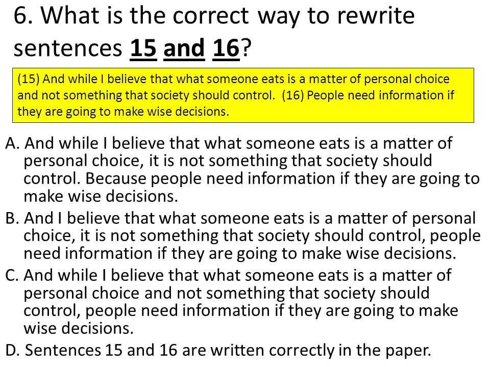6. What is the correct way to rewrite sentences 15 and 16