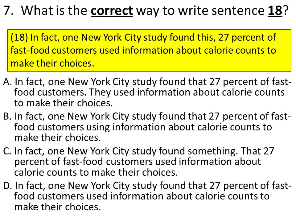 7. What is the correct way to write sentence 18