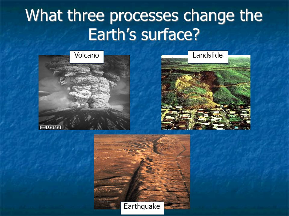What three processes change the Earth's surface