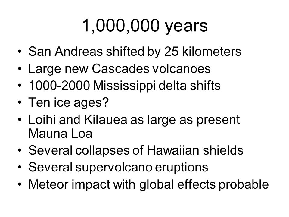 1,000,000 years San Andreas shifted by 25 kilometers