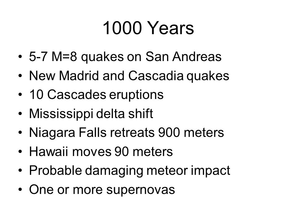 1000 Years 5-7 M=8 quakes on San Andreas