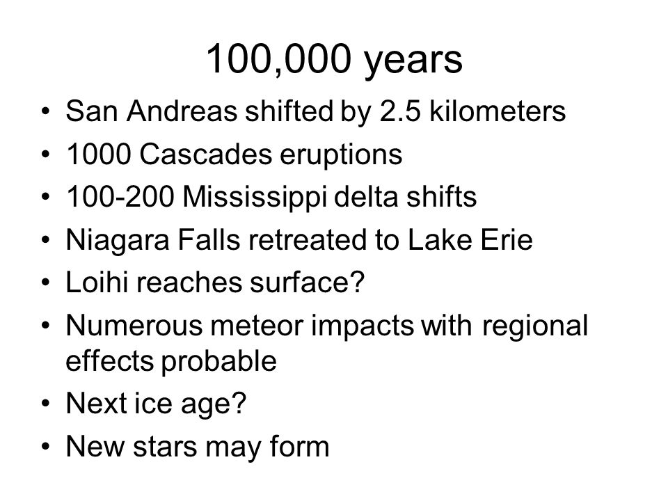 100,000 years San Andreas shifted by 2.5 kilometers
