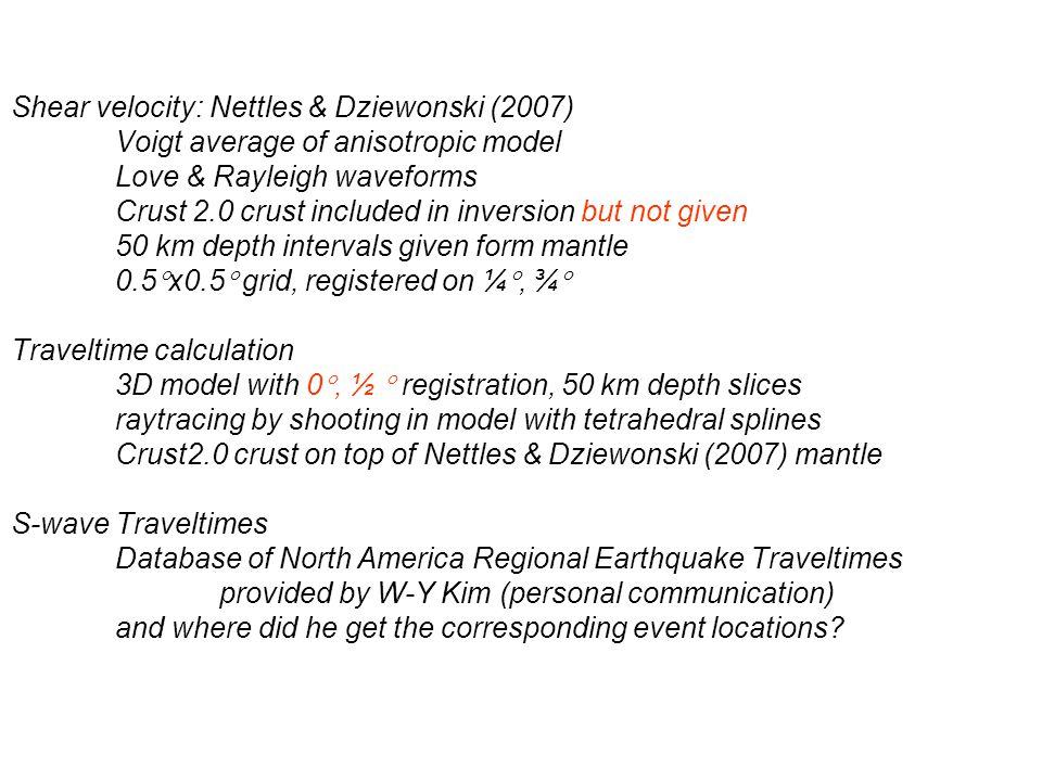 Shear velocity: Nettles & Dziewonski (2007)
