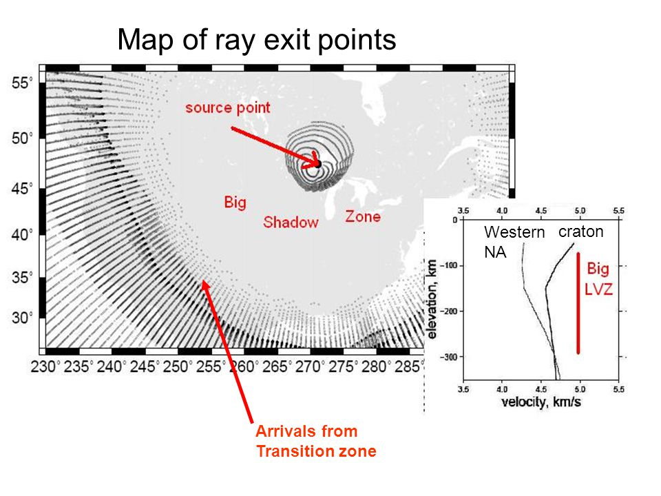 Map of ray exit points Western NA craton Arrivals from Transition zone