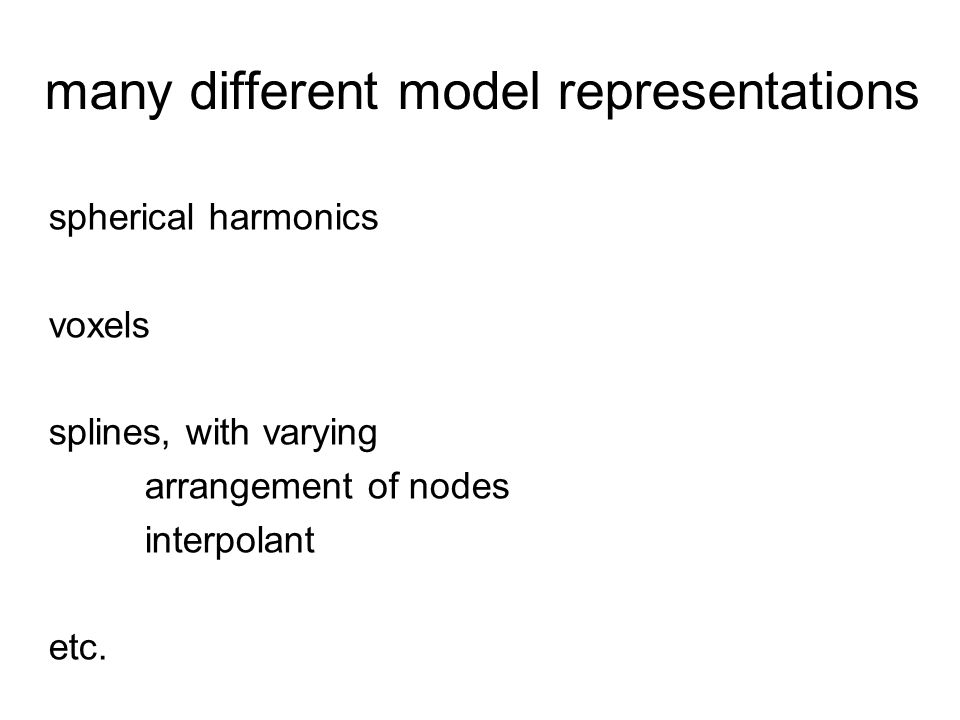 many different model representations