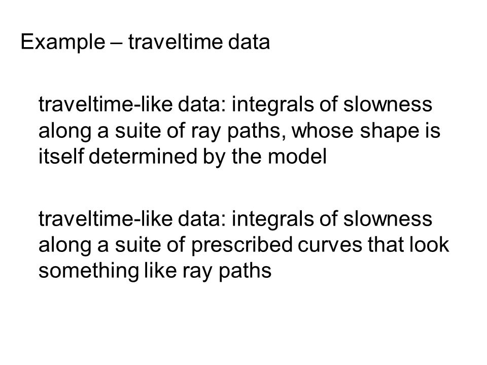 Example – traveltime data