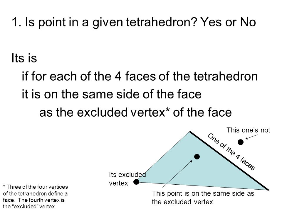 1. Is point in a given tetrahedron Yes or No Its is