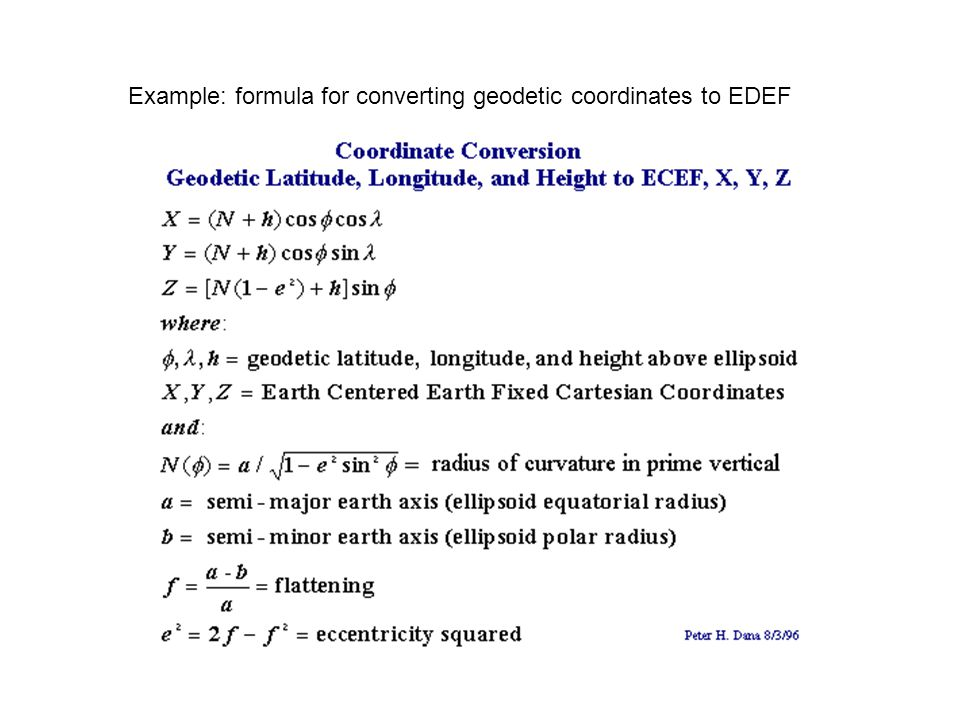 Example: formula for converting geodetic coordinates to EDEF