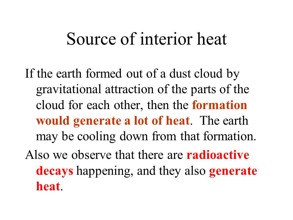Source of interior heat
