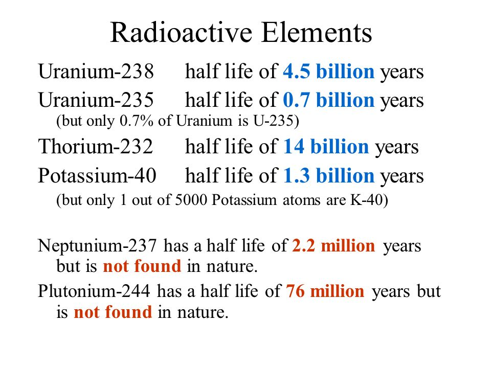 Radioactive Elements Uranium-238 half life of 4.5 billion years