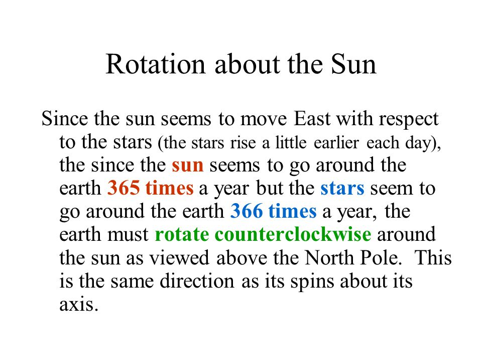 Rotation about the Sun
