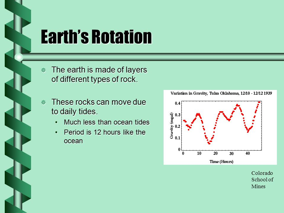 Earth's Rotation The earth is made of layers of different types of rock. These rocks can move due to daily tides.