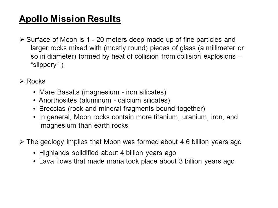 Apollo Mission Results