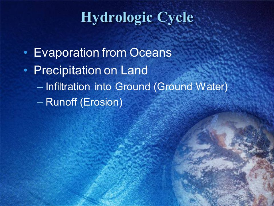 Hydrologic Cycle Evaporation from Oceans Precipitation on Land