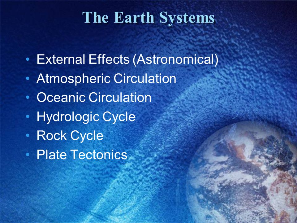 The Earth Systems External Effects (Astronomical)