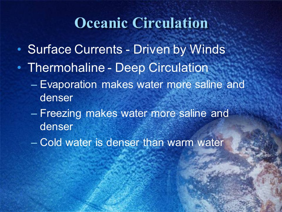 Oceanic Circulation Surface Currents - Driven by Winds